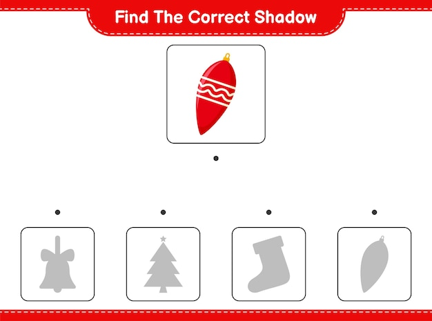 正しい影を見つけてください。クリスマスライトの正しい影を見つけて一致させます。