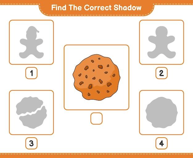 올바른 그림자 찾기 쿠키 교육 어린이 게임의 올바른 그림자를 찾아 일치시킵니다.