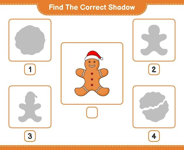 정확한 그림자 찾기 gingerbread man의 올바른 그림자를 찾아 짝짓기