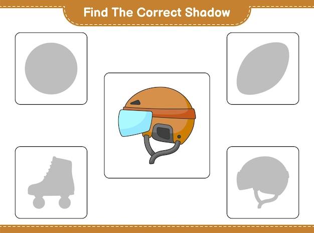 올바른 그림자를 찾으십시오. 하키 헬멧의 올바른 그림자를 찾아 일치시킵니다.