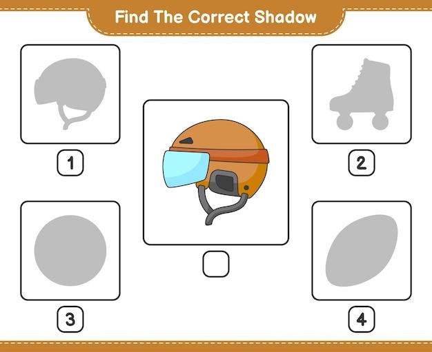 올바른 그림자 찾기 하키 헬멧의 올바른 그림자를 찾아 일치시킵니다.