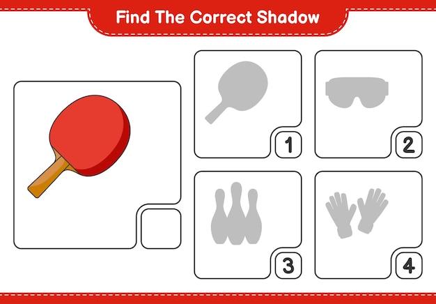 Найдите правильную тень найдите и сопоставьте правильную тень ракетки для пинг-понга