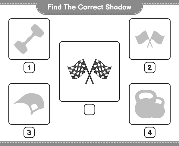 Найдите правильную тень найдите и сопоставьте правильную тень racing flags