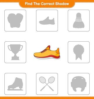 Найдите правильную тень. найдите и сопоставьте правильную тень кроссовок