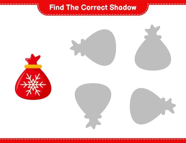 Найдите правильную тень. найдите и сопоставьте правильную тень сумки санта-клауса. развивающая детская игра