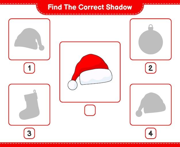 올바른 그림자 찾기 산타 모자 교육용 어린이 게임의 올바른 그림자를 찾아 일치시킵니다.
