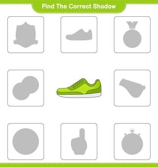 Найдите правильную тень. найдите и сопоставьте правильную тень sneaker. развивающая детская игра
