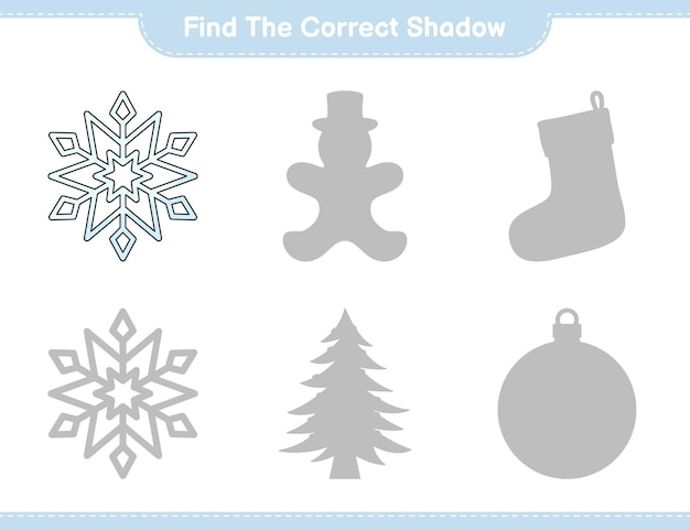 Найдите правильную тень найдите и сопоставьте правильную тень в игре «снежинка».