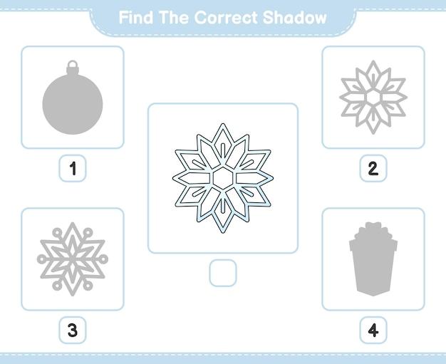 올바른 그림자 찾기 눈송이 교육 어린이 게임의 올바른 그림자를 찾아 일치시킵니다.