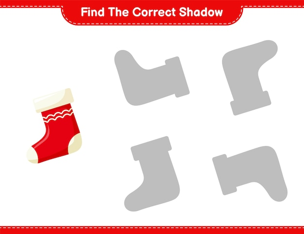 正しい影を見つけてください。靴下の正しい影を見つけて一致させます。教育的な子供向けゲーム