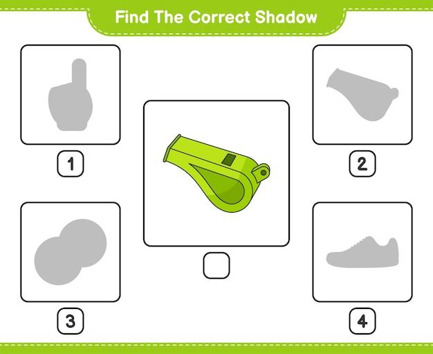 Найдите правильную тень найдите и сопоставьте правильную тень свистка