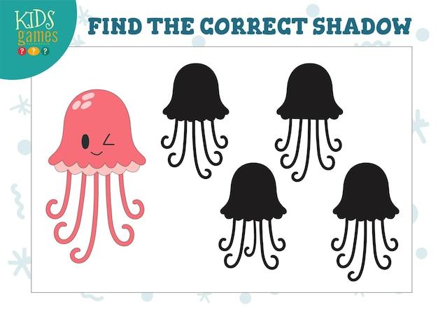 Найдите правильную тень для милой мультяшной медузы, обучающей детей дошкольного возраста, мини-иллюстрации с 4 силуэтами для головоломки с подбором теней