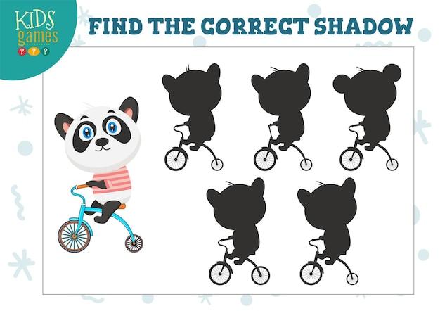 Найдите правильную тень для игры для детей дошкольного возраста с милой мультяшной пандой. пять силуэтов для головоломки соответствия теней