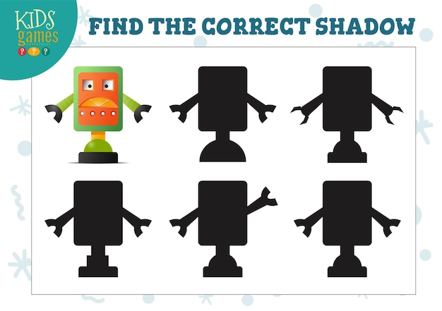かわいい漫画ロボット教育就学前の子供向けミニゲームの正しい影を見つけてください。シャドウマッチングクイズの5つのシルエットのベクトル図