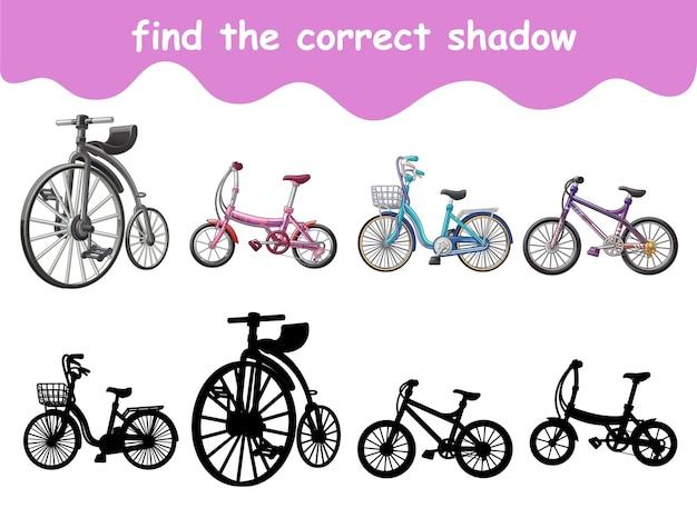 자전거 만화의 정확한 그림자 찾기
