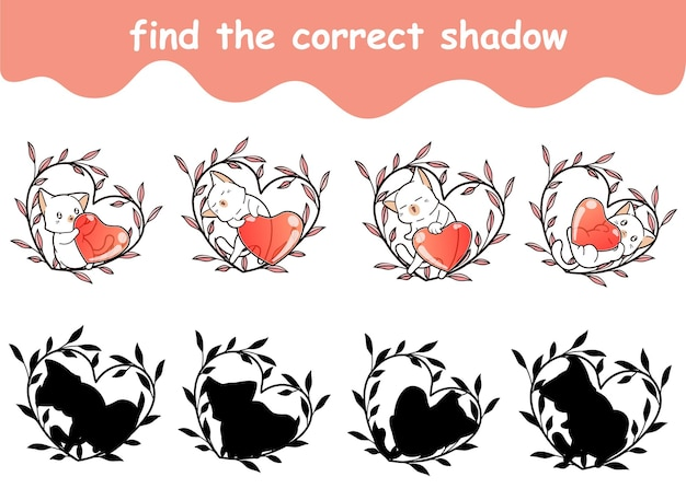 猫の正しい影を見つけて、ハートはハートの花輪にあります
