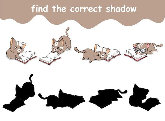 本を読んでいる猫の正しい影を見つける