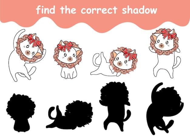花輪を着ている猫の正しい影を見つける