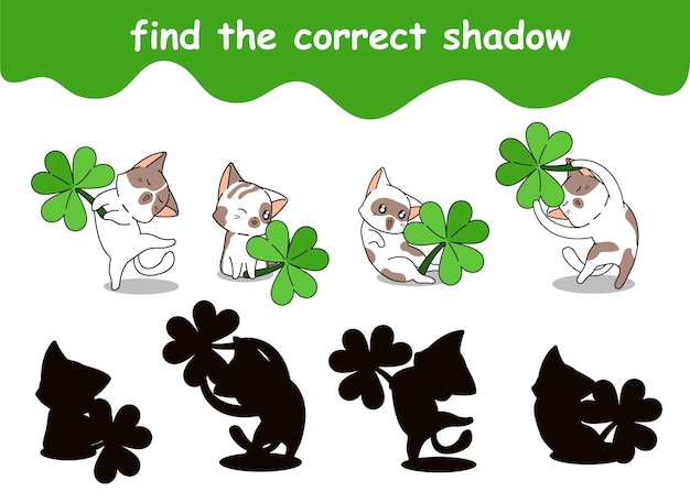 행운의 잎 만화로 고양이의 정확한 그림자 찾기