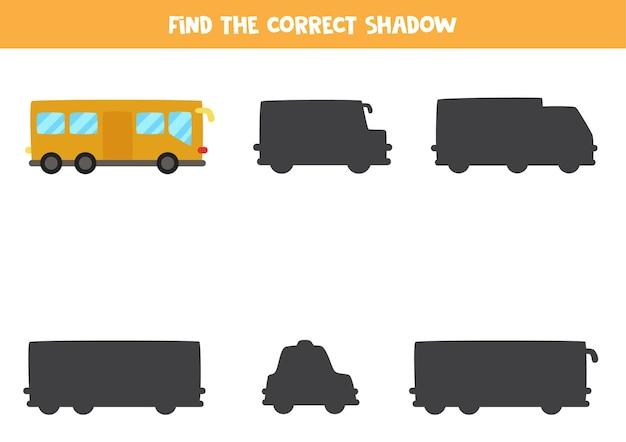 시내 버스의 정확한 그림자를 찾으십시오. 아이들을위한 논리 퍼즐.