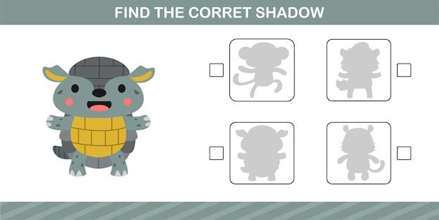5세와 10세 어린이를 위한 교육용 게임인 귀여운 아르마딜로의 정확한 그림자 찾기