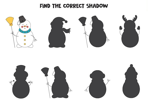 かわいい漫画の雪だるまの正しい影を見つけてください。子供のための論理パズル。