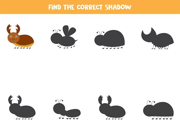 Найдите правильную тень милого жука-оленя. развивающая логическая игра для детей. Premium векторы