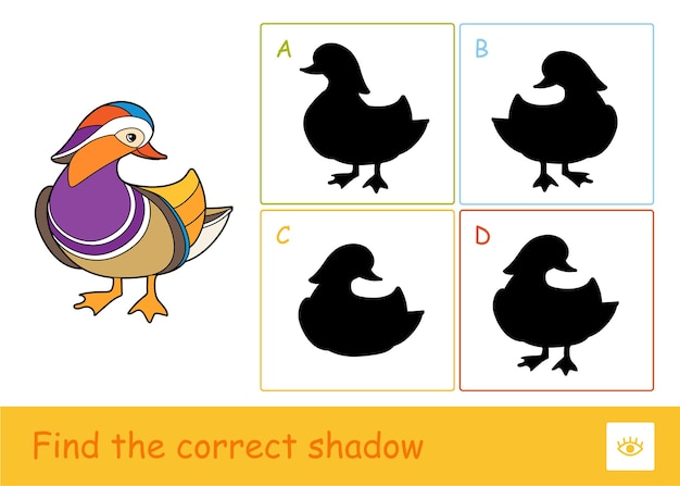 Найдите правильную обучающую игру для детей с теневой викториной с уткой-мандаринкой и четырьмя силуэтами теней для самых маленьких. изучение птиц и травоядных для детей.