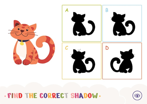 Найдите правильную обучающую игру для детей с теневой викториной с полосатым котом и четырьмя силуэтами теней f