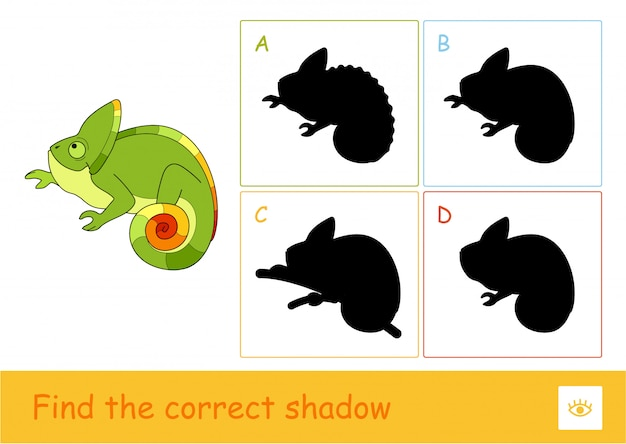 Найдите правильную обучающую игру для детей в виде теневых тестов с простой иллюстрацией милого хамелеона и четырьмя тенями для самых маленьких детей. веселье и обучение диких животных для детей.