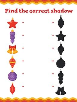 Найдите правильные тени для образовательных игр для малышей с украшением елки. рабочий лист для дошкольников или детских садов.