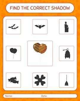 풍선으로 올바른 그림자 게임을 찾으십시오. 미취학 아동을 위한 워크시트, 어린이 활동 시트