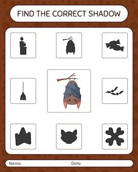 박쥐로 올바른 그림자 게임을 찾으십시오. 미취학 아동을 위한 워크시트, 어린이 활동 시트