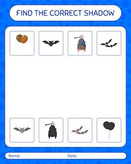 Найдите правильную игру теней со значком хэллоуина. рабочий лист для дошкольников, детский лист активности