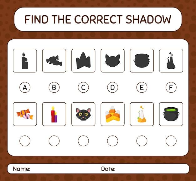 ハロウィーンのアイコンで正しい影のゲームを見つけます。就学前の子供のためのワークシート、子供の活動シート