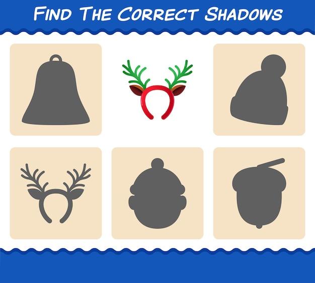 뿔 머리띠의 정확한 그림자를 찾으십시오. 찾기 및 짝짓기 게임. 취학 전 아동 및 유아를 위한 교육 게임