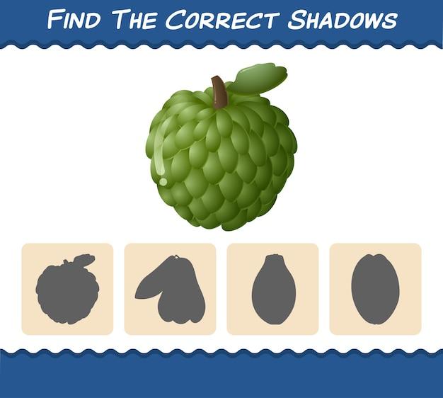 Найдите правильные тени мультяшных заварных яблок. игра на поиск и сопоставление. развивающая игра для дошкольников и малышей