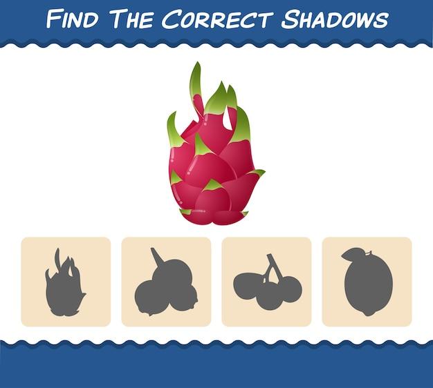 만화 용 과일의 올바른 그림자를 찾으십시오. 검색 및 매칭 게임. 학교 전 아동 및 유아를위한 교육용 게임