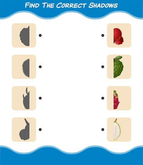 만화 과일의 정확한 그림자를 찾으십시오. 찾기 및 짝짓기 게임. 학교 전 아동 및 유아를위한 교육용 게임