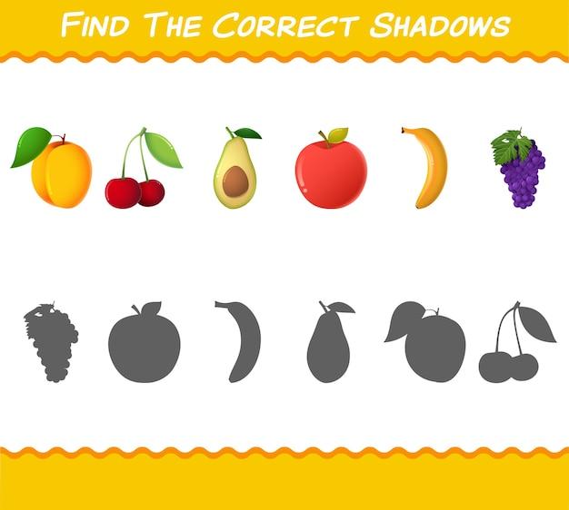 Найдите правильные тени мультяшных фруктов