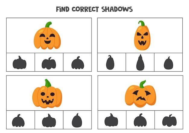 Найдите правильные тени мультяшных тыкв на хэллоуин. клип-карты для дошкольников.