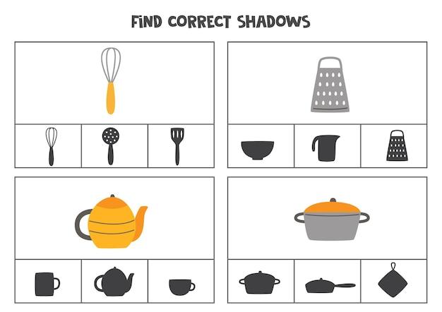 漫画のキッチンツールの正しい影を見つけます。就学前の子供のためのクリップカード。