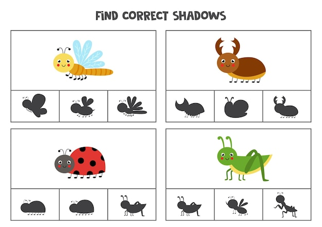 Найдите правильные тени симпатичных насекомых. клип-карты для дошкольников.