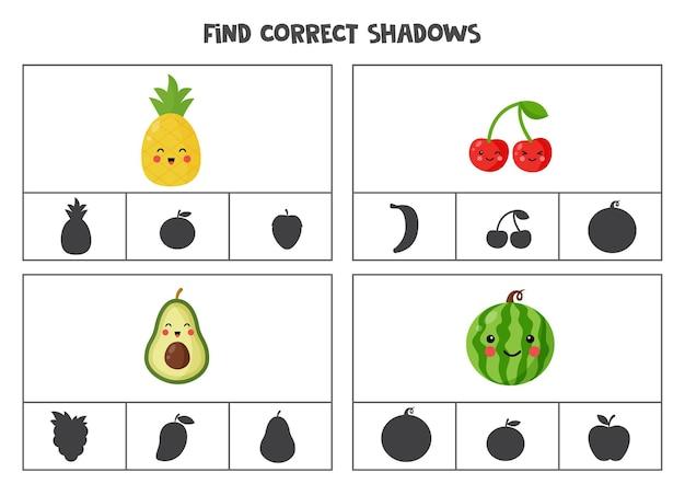 귀여운 카와이 과일의 정확한 그림자를 찾으십시오. 미취학 아동을위한 클립 카드.