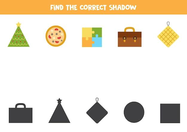 幾何学的オブジェクトの正しい影を見つけます。子供のための論理パズル。