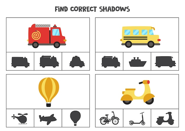 교통 수단의 정확한 그림자를 찾으십시오. 미취학 아동을위한 클립 카드.