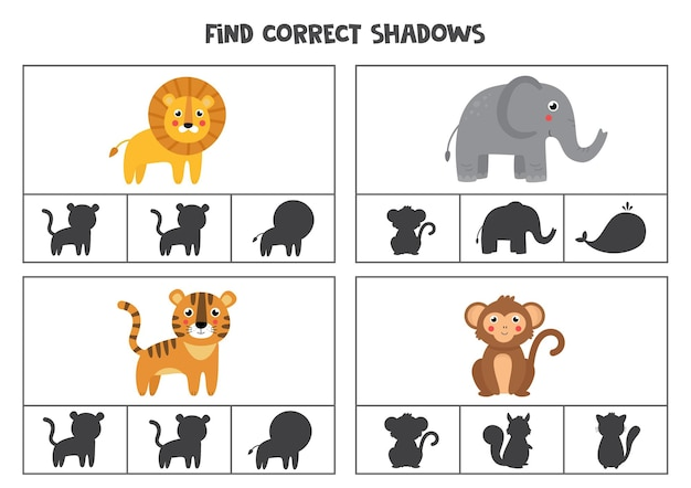 Найдите правильные тени диких животных. клип-карты для дошкольников.