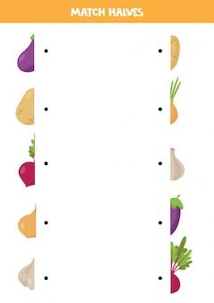 Найдите половину каждого овоща. смешные листы для детей.