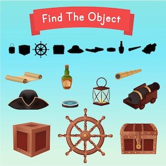 Найдите предмет. предметы с пиратского корабля. иллюстрация.