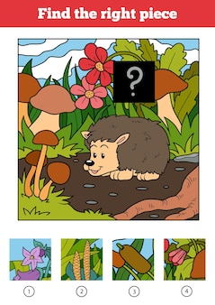 子供のための適切なピース、ジグソーパズルゲームを見つけてください。ハリネズミと背景